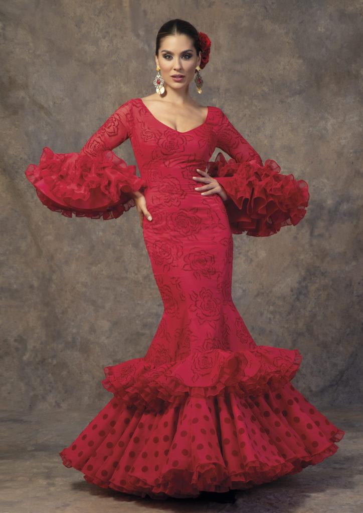 Traje de flamenca rojo de Aires de Feria. Modelo Primavera.