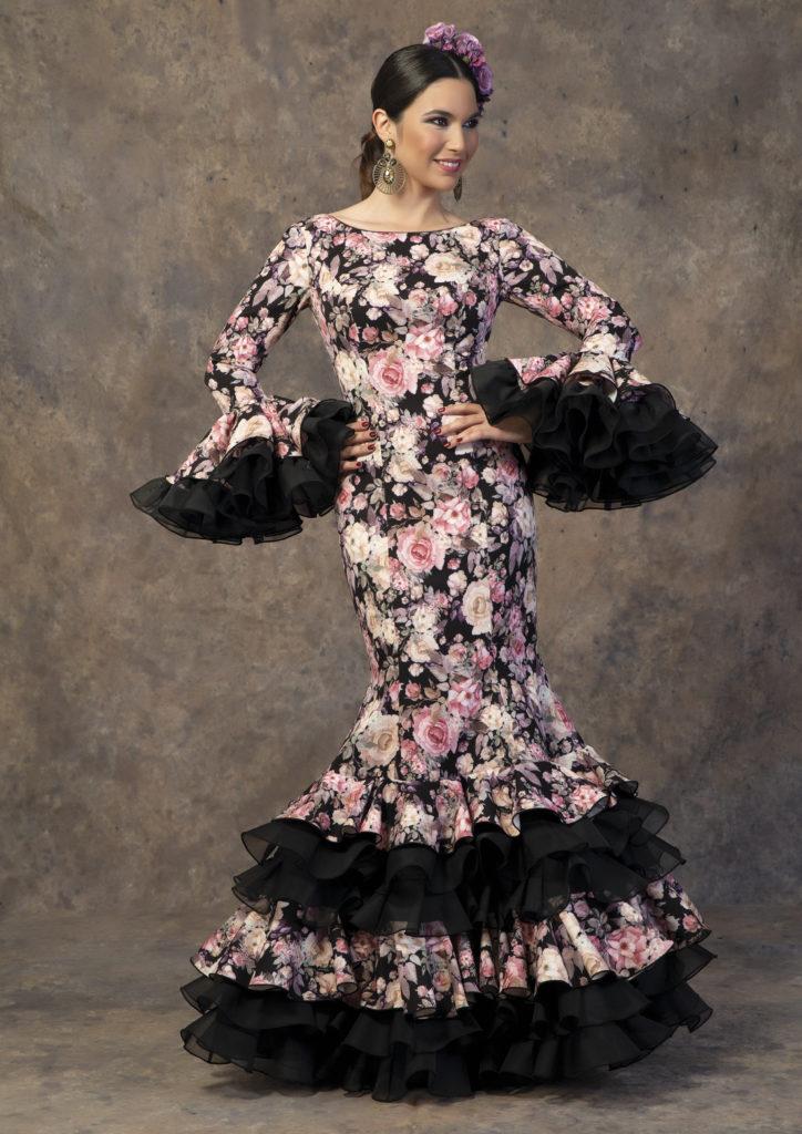 Traje de flamenca estampado floral de Aires de Feria. Modelo Requiebro.
