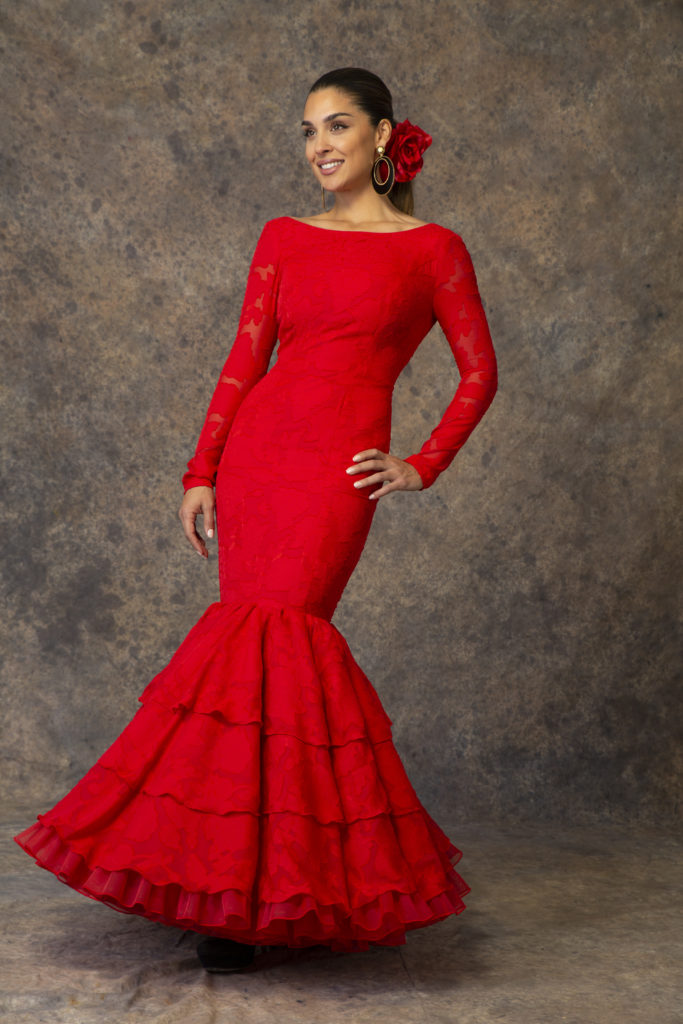 Traje de flamenca rojo de Aires de Feria 2019. Modelo Albero.