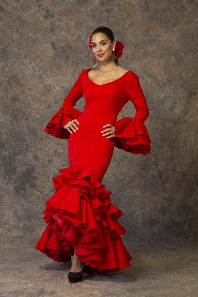 Traje de flamenca rojo de Aires de Feria 2019. Modelo Brisa.