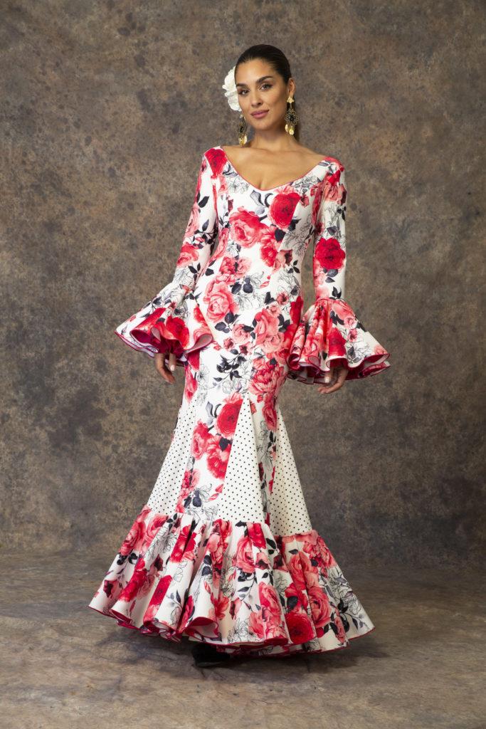 Traje de flamenca estampado floral de Aires de Feria. Modelo Esencia.