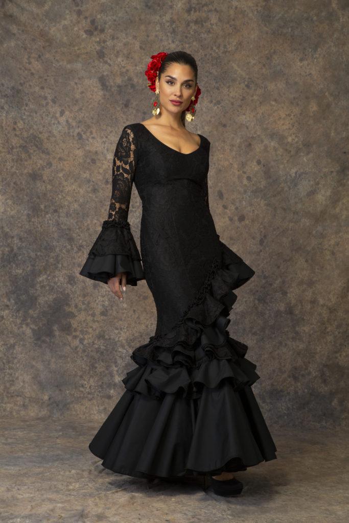 Traje de flamenca negro de Aires de Feria. Modelo Esperanza.