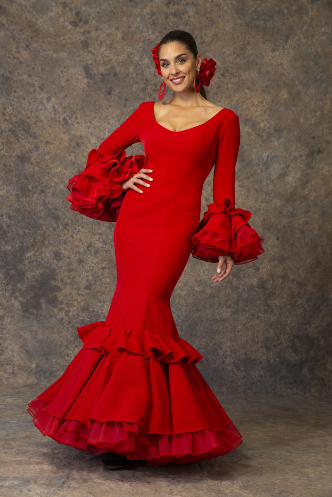 Traje de flamenca rojo de Aires de Feria. Modelo Piropo.