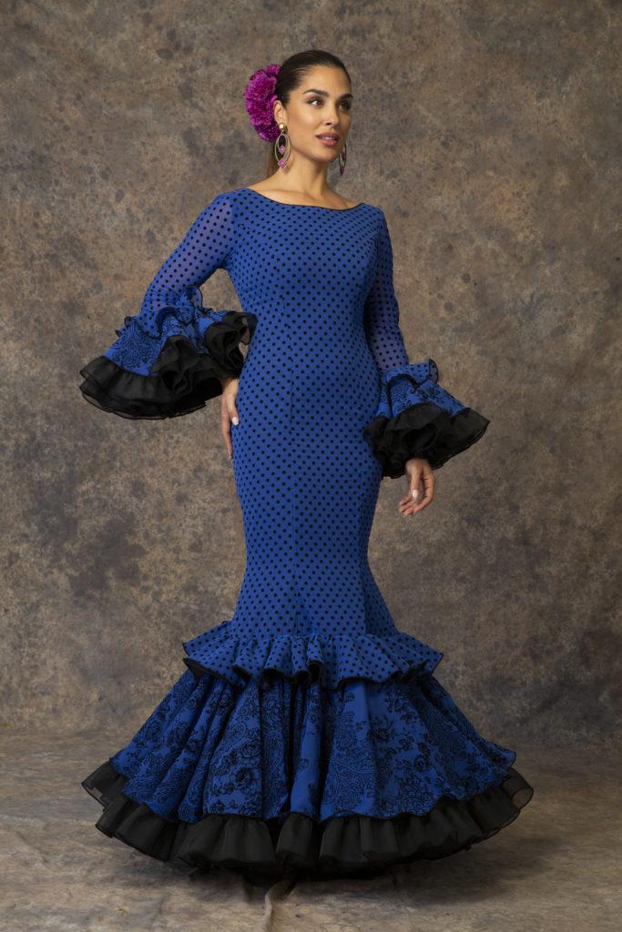 Traje de flamenca azul de Aires de Feria. Modelo Piropo.