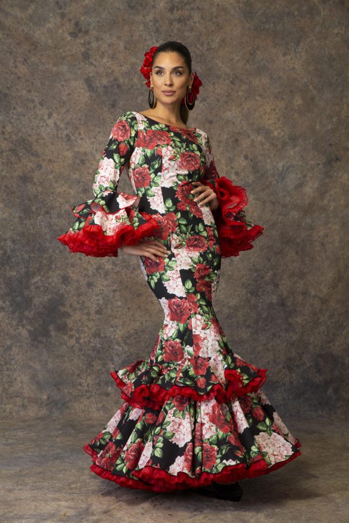 Traje de flamenca estampado floral de Aires de Feria. Modelo Primavera.