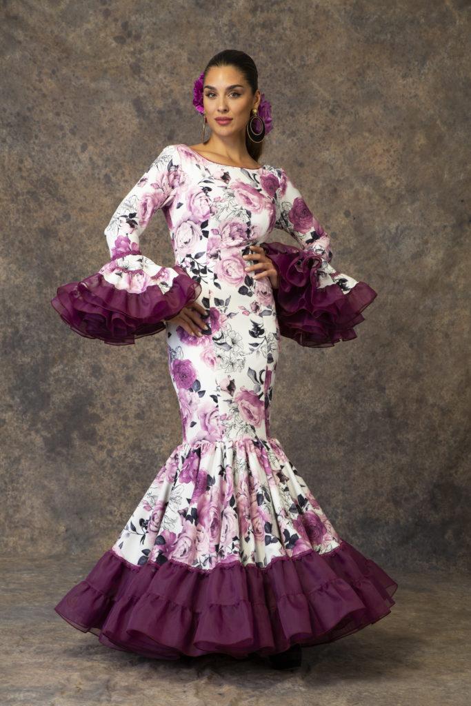 Traje de flamenca estampado flores de Aires de Feria. Modelo Relente.