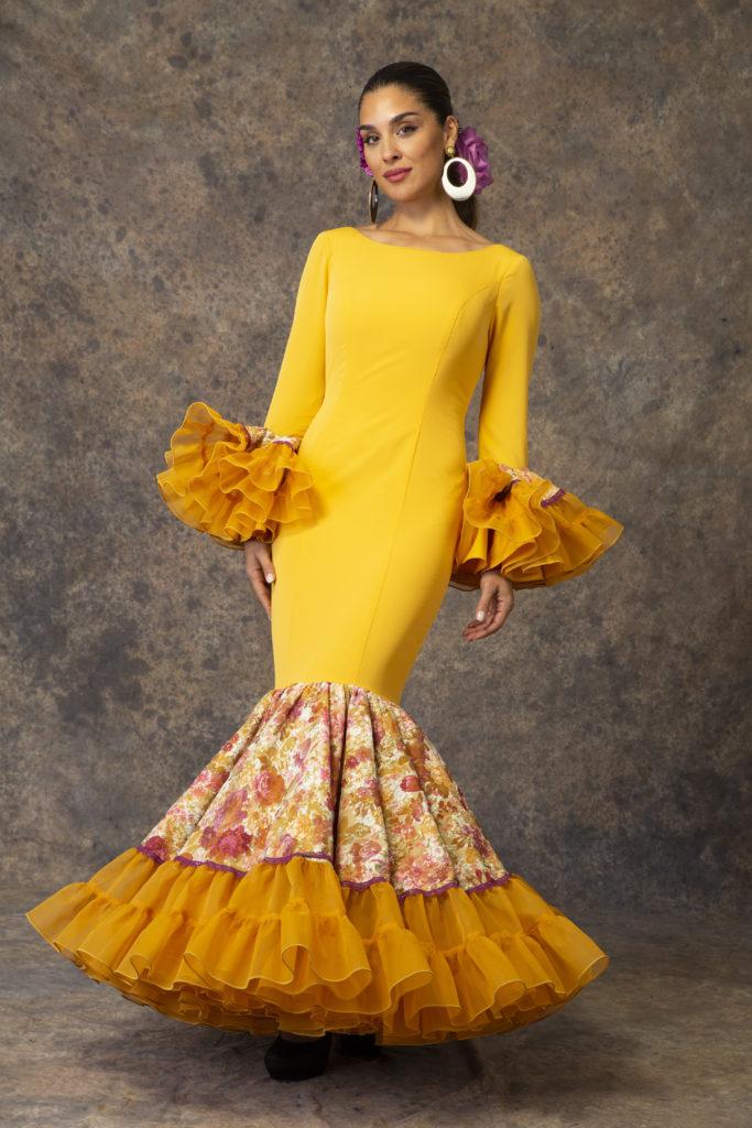 Traje de flamenca amarillo de Aires de Feria. Modelo Relente.