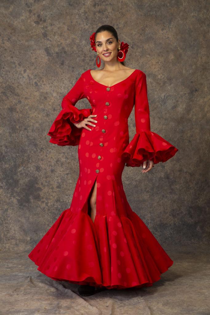 Traje de flamenca rojo de Aires de Feria 2019. Modelo Rocío.